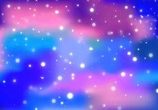 Fond abstrait avec les nuages colorés et les étoiles brillantes Modèle magique de galaxie Illustration cosmique de vecteur illustration libre de droits