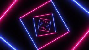 Fond abstrait avec les places au néon avec les lignes légères se déplaçant rapidement banque de vidéos