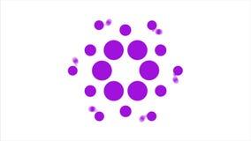 Fond abstrait avec les points de polka tournants violets Cercle violet de point illustration stock