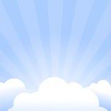 Fond abstrait avec les rayons et le cadre de nuage Photos stock