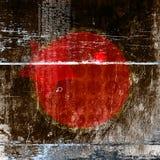 Fond abstrait avec un cercle rouge et une étoile au milieu Images libres de droits