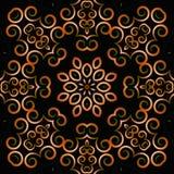 Fond abstrait avec un ornement circulaire des boucles et des fleurs sur un fond foncé images libres de droits