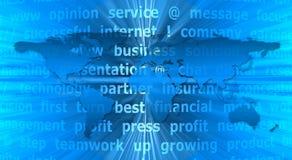 Fond abstrait bleu avec la carte et le texte du monde Image libre de droits