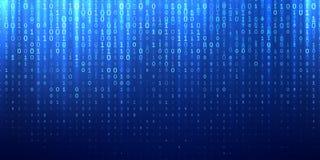 Fond abstrait bleu de code binaire de matrice illustration stock