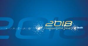 Fond 2018 abstrait bleu de feu d'artifice de champagne de bonne année Photos libres de droits