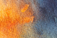 Fond abstrait bleu et orange d'aquarelle Image libre de droits