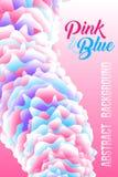 Fond abstrait, calibre futuriste d'affiche dans le rose, blanc et bleu Photo stock