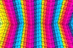 fond abstrait coloré avec le cube sur la boîte et la sphère 3d illustration libre de droits