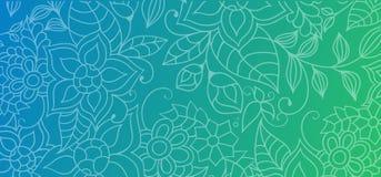 Fond abstrait coloré avec les ornements floraux, les fleurs et les feuilles pour le site Web, les bannières ou l'identité illustration libre de droits