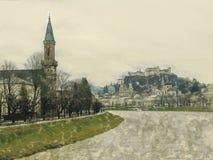 Fond abstrait coloré, couleurs d'arc-en-ciel, lignes verticales de lumière sur un fond foncé Salzbourg image stock