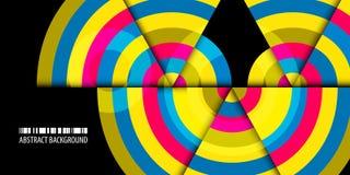 Fond abstrait coloré géométrique avec les bandes concentriques illustration libre de droits