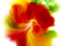 Fond abstrait coloré de concept de fleur, vert et jaune rouges Image libre de droits