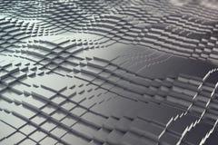 Fond abstrait, cubes noirs en métal sous forme de vague illustration 3D Photo libre de droits