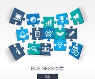 Fond abstrait d'affaires, puzzles reliés de couleur, icônes plates intégrées concept 3d infographic avec la recherche de marché Image libre de droits