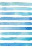 Fond abstrait d'aquarelle avec des rayures de bleu et de navi Fond peint à la main de mer d'isolement sur le fond blanc Pour la c Image libre de droits