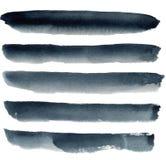 Fond abstrait d'aquarelle avec les rayures foncées de navi Fond peint à la main de mer d'isolement sur le fond blanc Pour la conc Image libre de droits