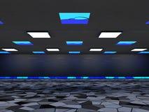Fond abstrait d'architecture, intérieur vide et murs rendu 3d Images libres de droits