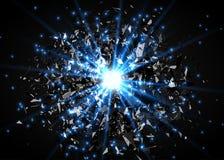 Fond abstrait d'explosion de vecteur Souffle lumineux dans l'obscurité Lumière lumineuse rougeoyante Graphique de Digital pour la Photographie stock
