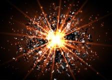 Fond abstrait d'explosion de vecteur Souffle lumineux dans l'obscurité Lumière lumineuse rougeoyante Graphique de Digital pour la Photo stock