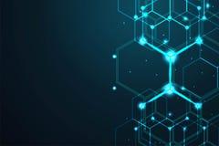 Fond abstrait d'hexagone, concept polygonal de technologie, illustration de vecteur illustration stock