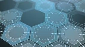 Fond abstrait d'hexagones de Digital, belle animation 3d 4K de bouclage sans couture illustration de vecteur