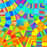 Fond abstrait dans des couleurs d'arc-en-ciel Mandala jaune concentrique Mosaïque multicolore Digital Art Collage Conception kalé Images libres de droits