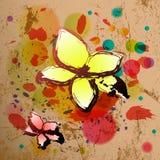 Fond abstrait dans le type grunge avec des fleurs. Image stock
