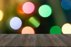 Fond abstrait de bokeh de lumière avec la terrasse en bois Photo libre de droits