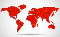 Fond abstrait de carte du monde dans le style polygonal Images libres de droits