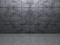 Fond abstrait de chambre noire de mur de tuile en béton Images stock