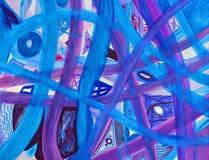 Fond abstrait de chemins bleus et pourprés Photo libre de droits