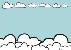 Fond abstrait de ciel de croquis de griffonnage d'aspiration de main, vecteur Photos libres de droits