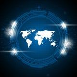 Fond abstrait de concept de technologie de carte du monde de vecteur illustration libre de droits