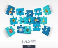 Fond abstrait de construction avec des puzzles reliés de couleur, icônes plates intégrées concept 3d infographic avec l'industrie Image libre de droits