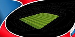 Fond abstrait de couleur blanche, bleue et rouge avec le dessin d'un stade avec le terrain de football vert sur le noir à l'arriè illustration stock