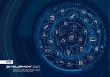 Fond abstrait de développement et de programmation Digital relient le système aux cercles intégrés, ligne mince rougeoyante icône Illustration de Vecteur