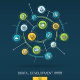 Fond abstrait de développement et de programmation Digital relient le système aux cercles intégrés, ligne mince plate icônes Illustration Libre de Droits