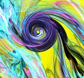 Fond abstrait de fractale avec la spirale colorée sur le jaune Image stock