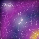 Fond abstrait de galaxie avec des constellations d'étoile, la manière laiteuse, des chimères, la nébuleuse et des étoiles brillan Photo libre de droits