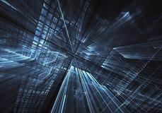 Fond abstrait de la fractale 3D, texture Ville au néon virtuelle illustration de vecteur
