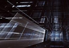 Fond abstrait de la fractale 3D, texture Ville au néon virtuelle illustration libre de droits
