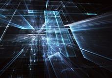 Fond abstrait de la fractale 3D, texture Ville au néon virtuelle illustration stock