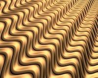 Fond abstrait de métal d'or ondulé - rendu d'Illustation 3d illustration stock