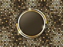 Fond abstrait de mosaïque avec des anneaux d'or au milieu Photos stock