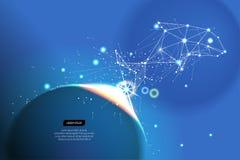 Fond abstrait de mouvement ligne conception de point escroquerie de poissons et de zodiaque Image libre de droits