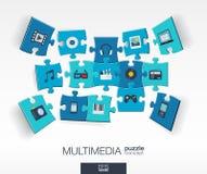 Fond abstrait de multimédia avec des puzzles reliés de couleur, icônes plates intégrées concept 3d infographic avec la technologi Photographie stock