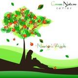 Fond abstrait de nature avec l'arbre fructifiant La pomme de Newton Image libre de droits