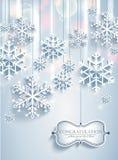 Fond abstrait de Noël avec des flocons de neige illustration stock