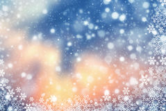Fond abstrait de Noël avec le flocon de neige Photographie stock