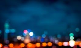 Fond abstrait de nuit de bokeh l?ger de ville photo libre de droits